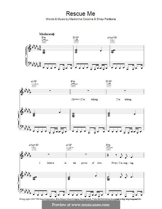 Rescue Me (Madonna): Für Stimme und Klavier (oder Gitarre) by Shep Pettibone