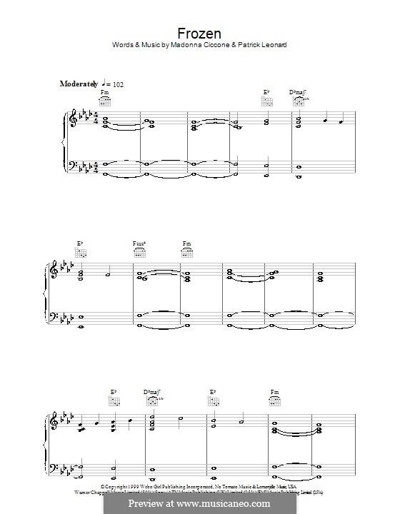 Frozen: Für Stimme und Klavier (oder Gitarre) by Madonna, Patrick Leonard