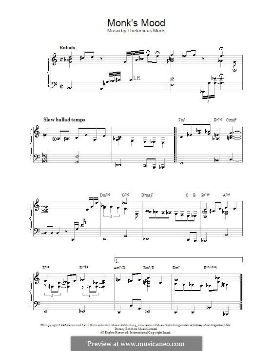 Monk's Mood: Für Klavier by Thelonious Monk
