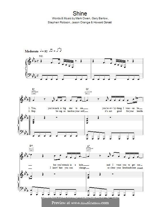 Shine (Take That): Für Stimme und Klavier (oder Gitarre) by Gary Barlow, Howard Donald, Jason Orange, Mark Owen, Steve Robson