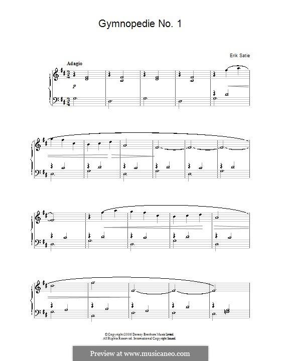 Gymnopédies: Nr.1, einfache Noten für Klavier by Erik Satie