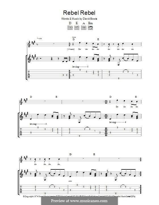 Rebel Rebel: Für Gitarre mit Tabulatur by David Bowie