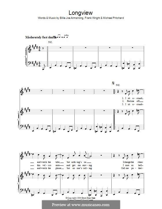 Longview (Green Day): Für Stimme und Klavier (oder Gitarre) by Billie Joe Armstrong, Tré Cool, Michael Pritchard
