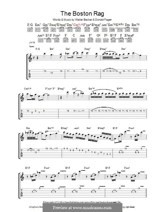 The Boston Rag (Steely Dan): Für Gitarre mit Tabulatur by Donald Fagen, Walter Becker