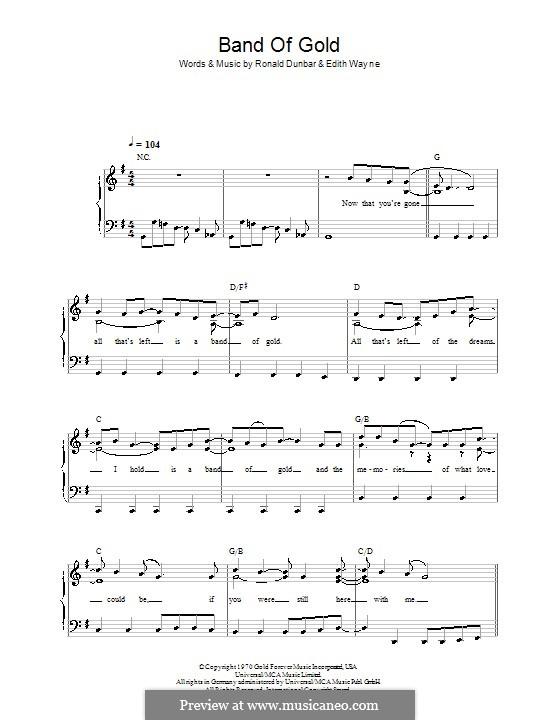 Band of Gold (Freda Payne): Für Klavier, leicht by Edith Wayne, Ronald Dunbar