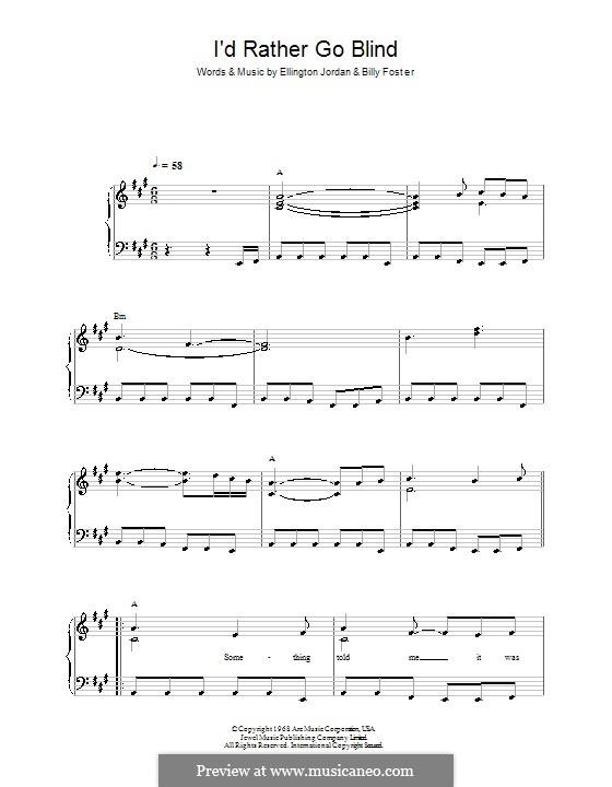 I'd Rather Go Blind (Etta James): Für Klavier, leicht by Billy Foster, Donto Foster, Ellington Jordan