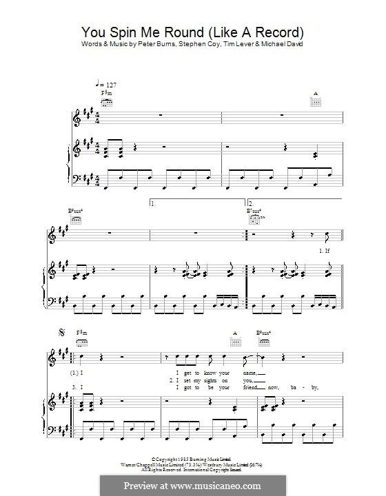 You Spin Me Round (Like a Record): Für Stimme mit Klavier oder Gitarre (Dead or Alive) by Michael David, Peter Burns, Stephen Coy, Tim Lever