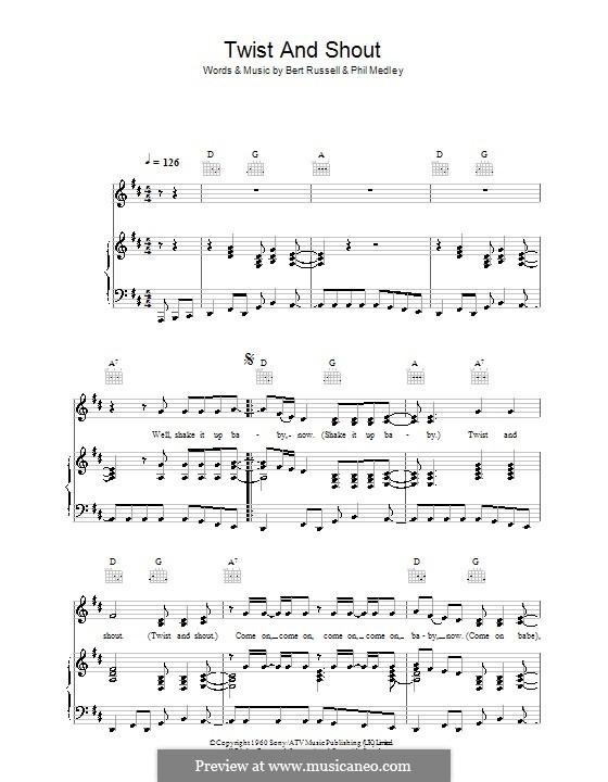 Twist and Shout (The Beatles): Für Stimme und Klavier (oder Gitarre) by Bert Russell, Phil Medley
