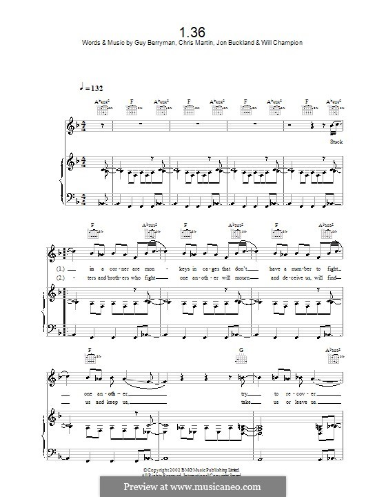 1.36 (Coldplay): Für Stimme mit Klavier oder Gitarre by Chris Martin, Guy Berryman, Jonny Buckland, Will Champion