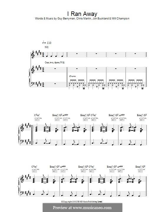 I Ran Away (Coldplay): Für Stimme und Klavier (oder Gitarre) by Chris Martin, Guy Berryman, Jonny Buckland, Will Champion