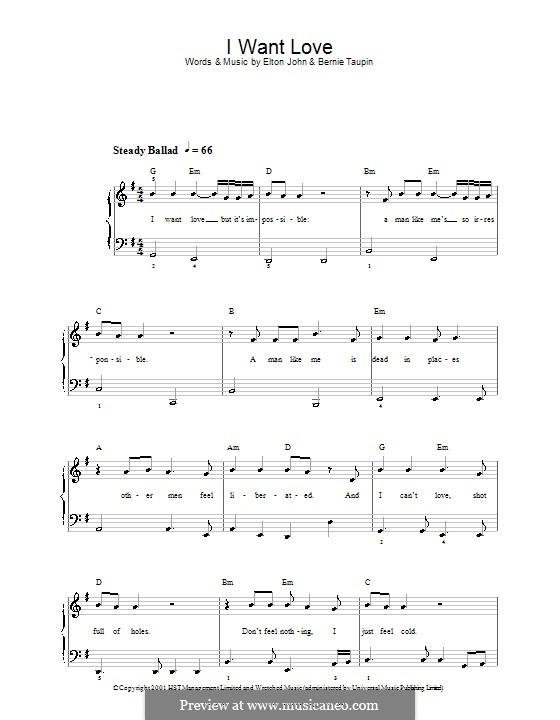 I Want Love: Für Klavier, leicht by Elton John