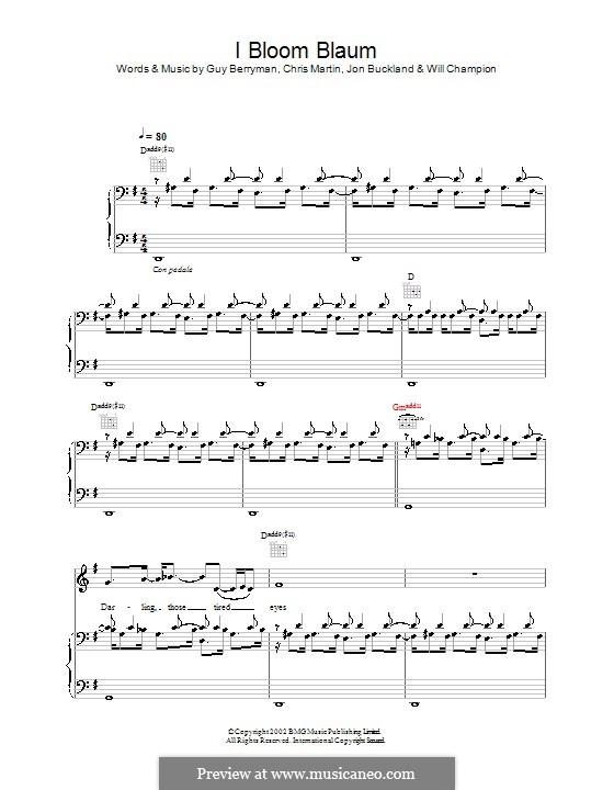 I Bloom Blaum (Coldplay): Für Stimme und Klavier (oder Gitarre) by Chris Martin, Guy Berryman, Jonny Buckland, Will Champion