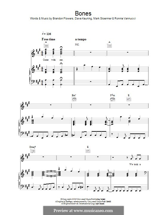 Bones (The Killers): Für Stimme mit Klavier oder Gitarre by Brandon Flowers, Dave Keuning, Mark Stoermer, Ronnie Vannucci