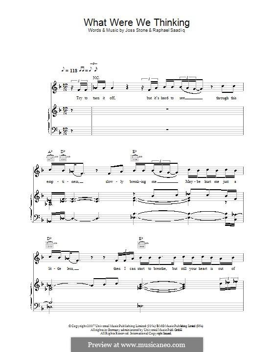 What Were We Thinking (Joss Stone): Für Stimme und Klavier (oder Gitarre) by Raphael Saadiq
