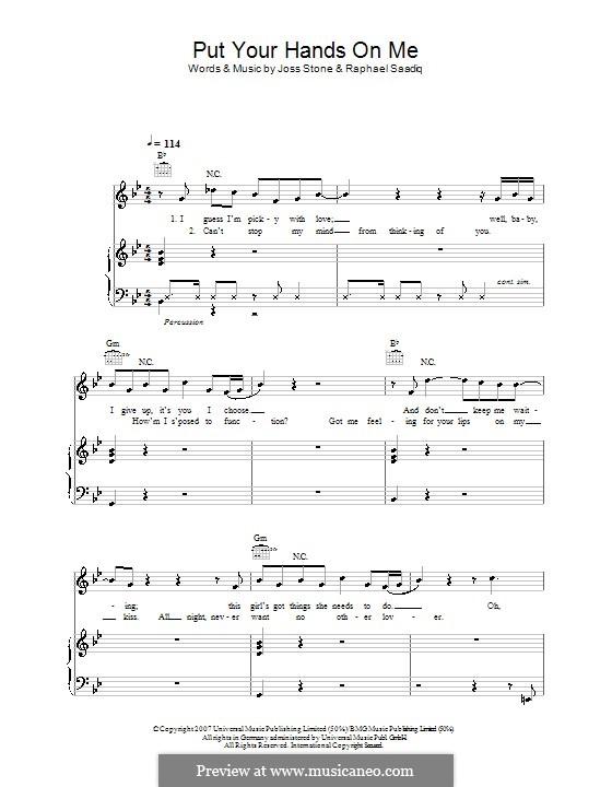 Put Your Hands on Me (Joss Stone): Für Stimme und Klavier (oder Gitarre) by Raphael Saadiq