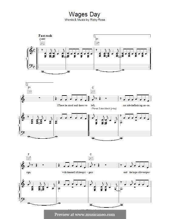 Wages Day (Deacon Blue): Für Stimme und Klavier (oder Gitarre) by Ricky Ross