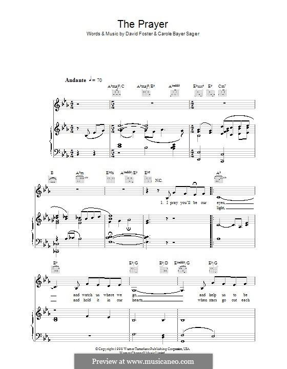 The Prayer: Für Stimme mit Klavier oder Gitarre (Katherine Jenkins) by Carole Bayer Sager, David Foster