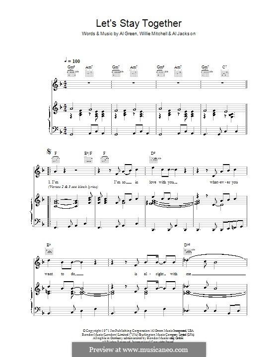 Let's Stay Together: Für Stimme und Klavier oder Gitarre (F-Dur) by Willie Mitchell, Al Jackson Jr.