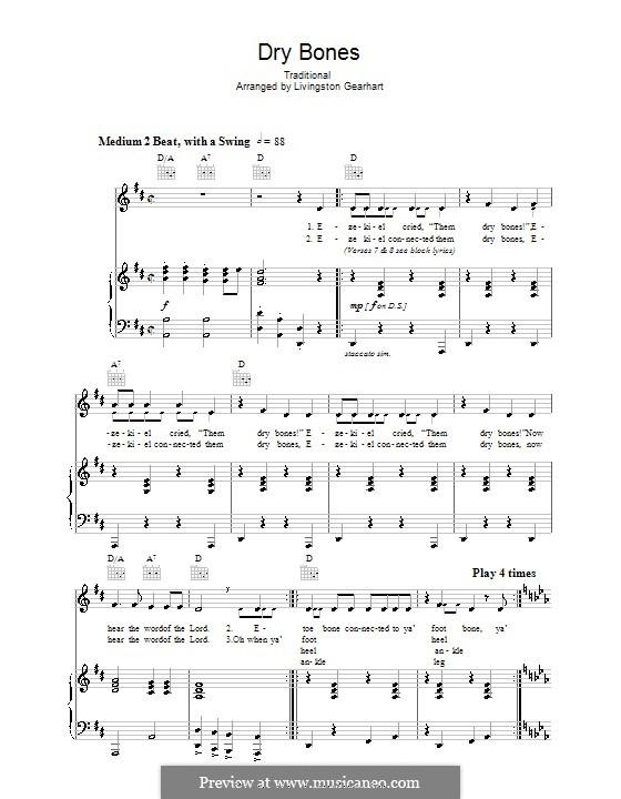 Dry Bones: Für Stimme und Klavier (oder Gitarre) by folklore