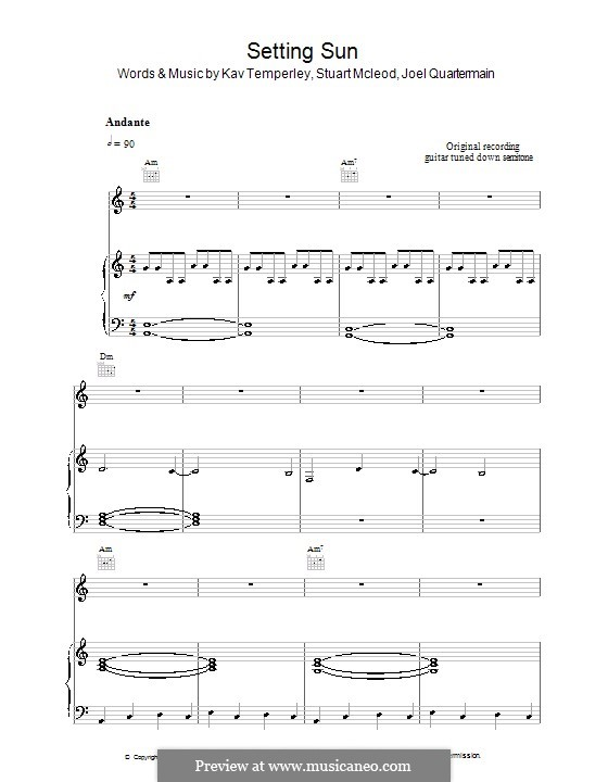 Setting Sun (Eskimo Joe): Für Stimme und Klavier (oder Gitarre) by Joel Quartermain, Kavyen Temperley, Stuart MacLeod
