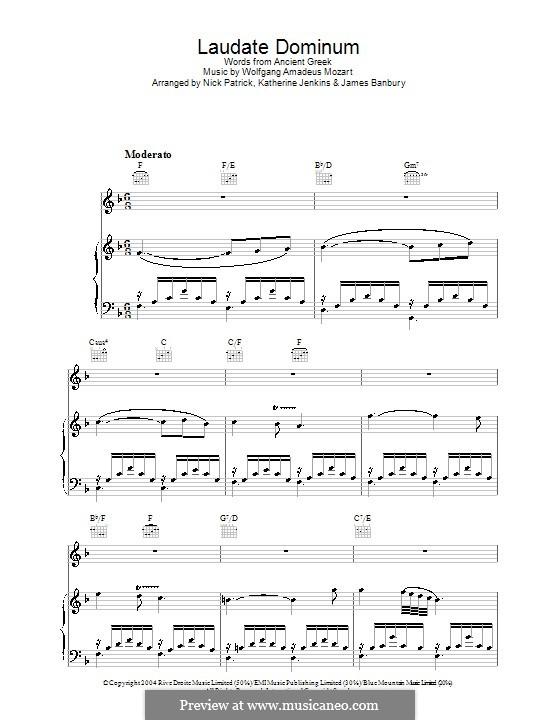 Vesperae solennes de confessore, K.339: Laudate Dominum, for voice and piano (or guitar) by Wolfgang Amadeus Mozart