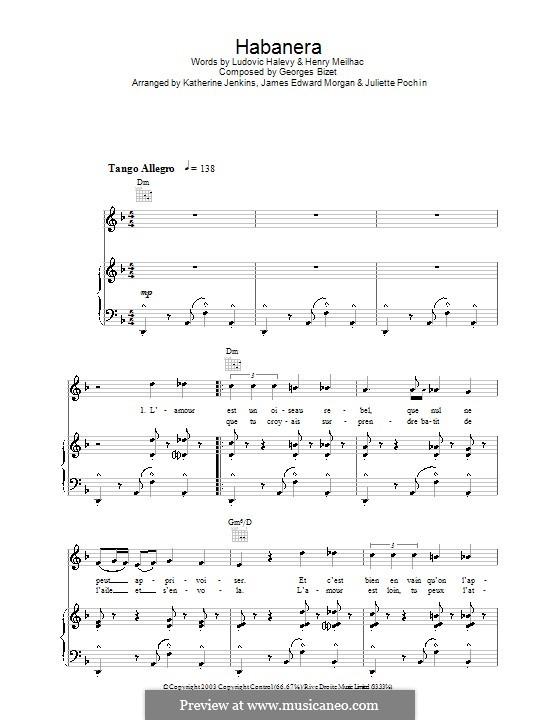 Habanera: Für Stimme und Klavier (oder Gitarre) by Georges Bizet