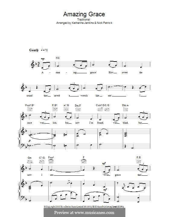 Amazing Grace (Printable Scores): Für Stimme und Klavier oder Gitarre (F-Dur) by folklore