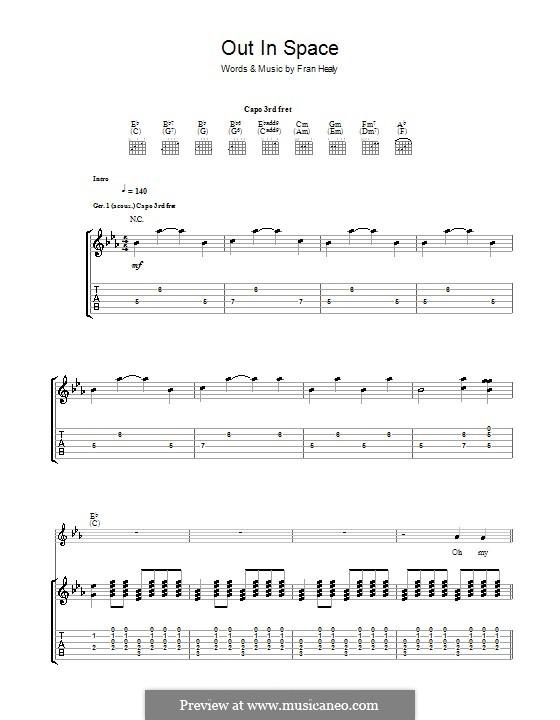 Out in Space (Travis): Für Gitarre mit Tabulatur by Fran Healy