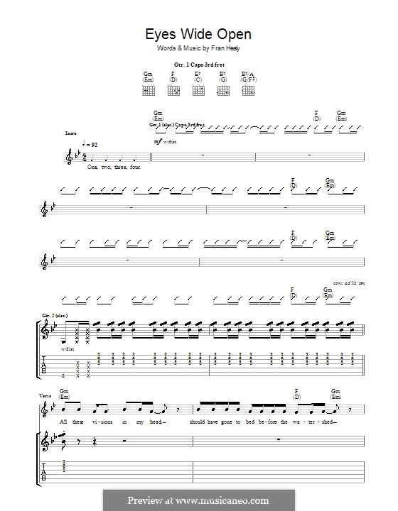 Eyes Wide Open (Travis): Für Gitarre mit Tabulatur by Fran Healy