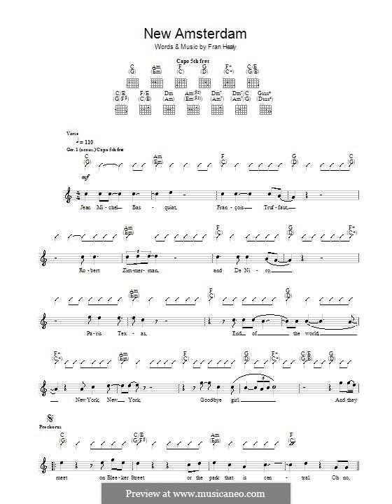 New Amsterdam (Travis): Für Gitarre mit Tabulatur by Fran Healy