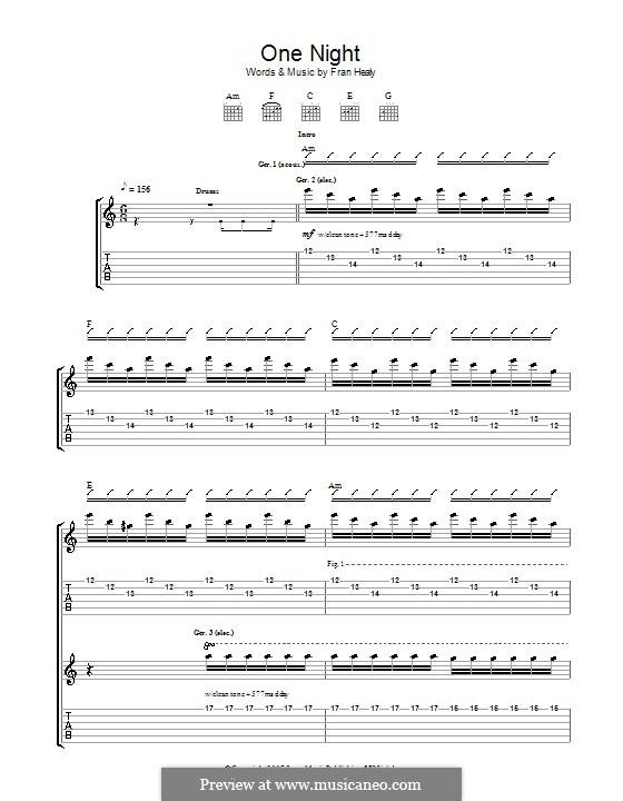 One Night (Travis): Für Gitarre mit Tabulatur by Fran Healy