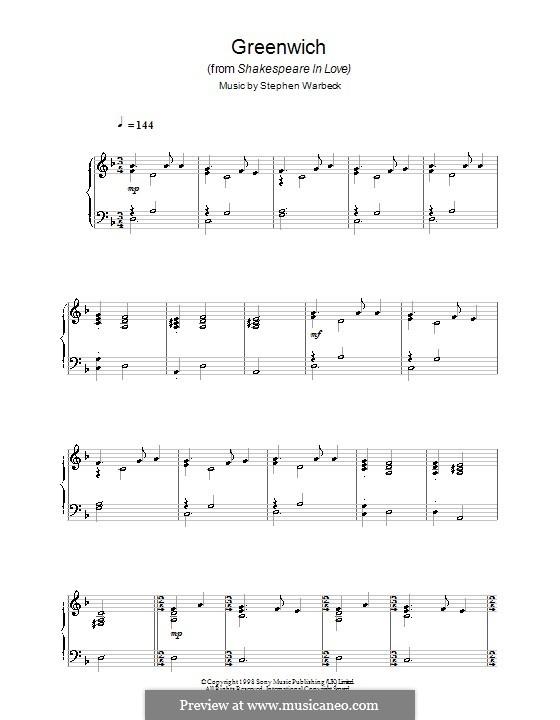 Greenwich (from Shakespeare in Love): Für Klavier by Stephen Warbeck
