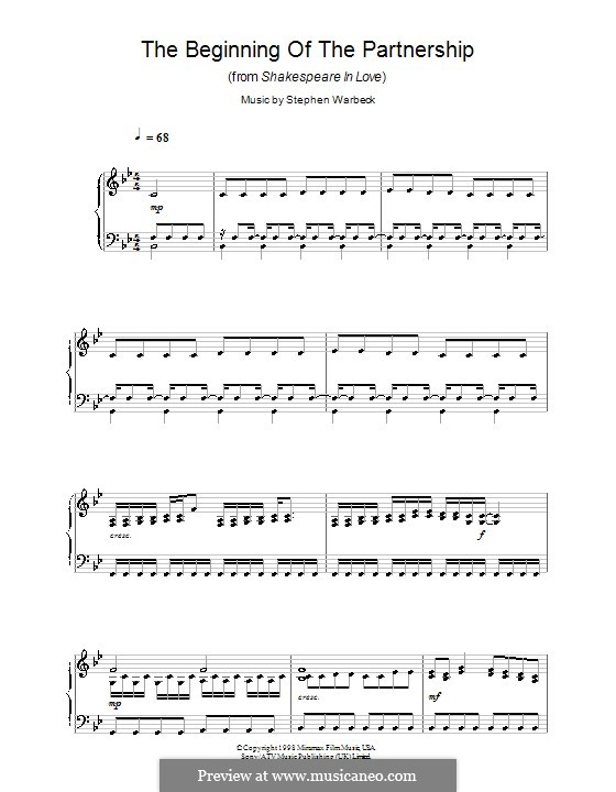 The Beginning of the Partnership (from Shakespeare in Love): Für Klavier by Stephen Warbeck