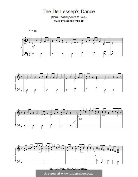 The de Lessep's Dance (from Shakespeare in Love): Für Klavier by Stephen Warbeck