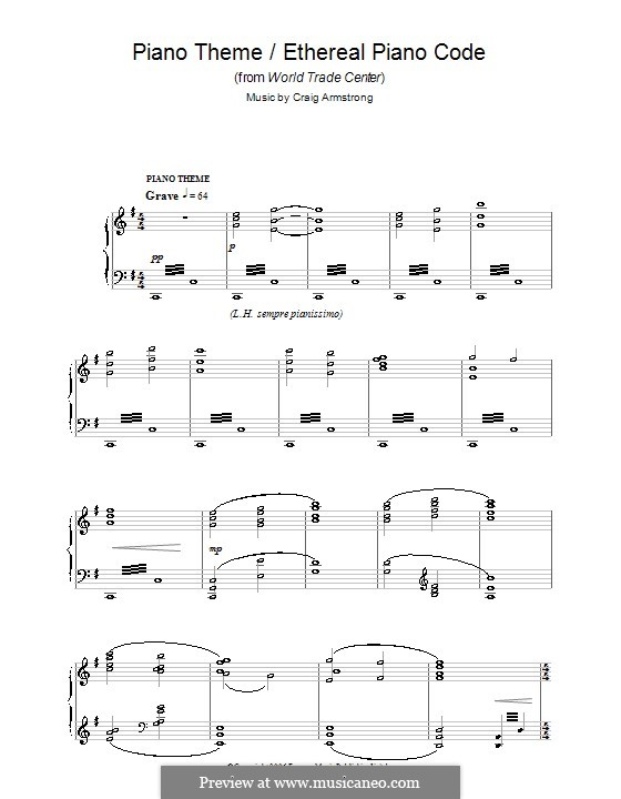 Piano Theme/Ethereal Piano Code (from World Trade Center): Für Klavier by Craig Armstrong