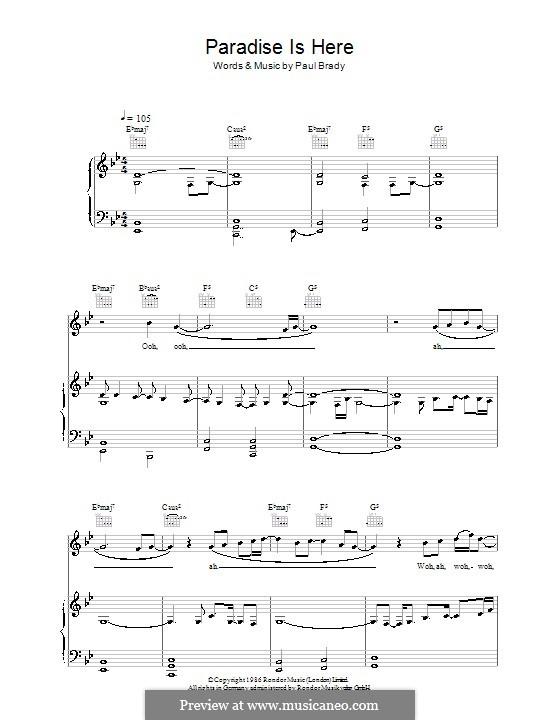 Paradise Is Here: Für Stimme und Klavier (oder Gitarre) by Paul Brady