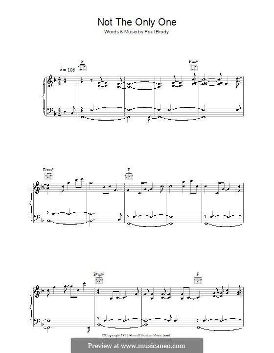 Not the Only One: Für Stimme und Klavier (oder Gitarre) by Paul Brady
