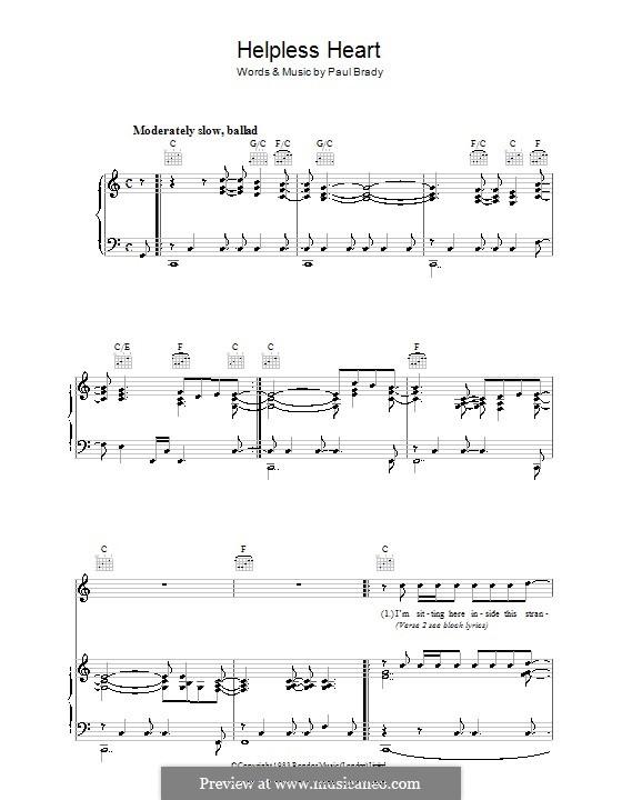 Helpless Heart: Für Stimme und Klavier (oder Gitarre) by Paul Brady