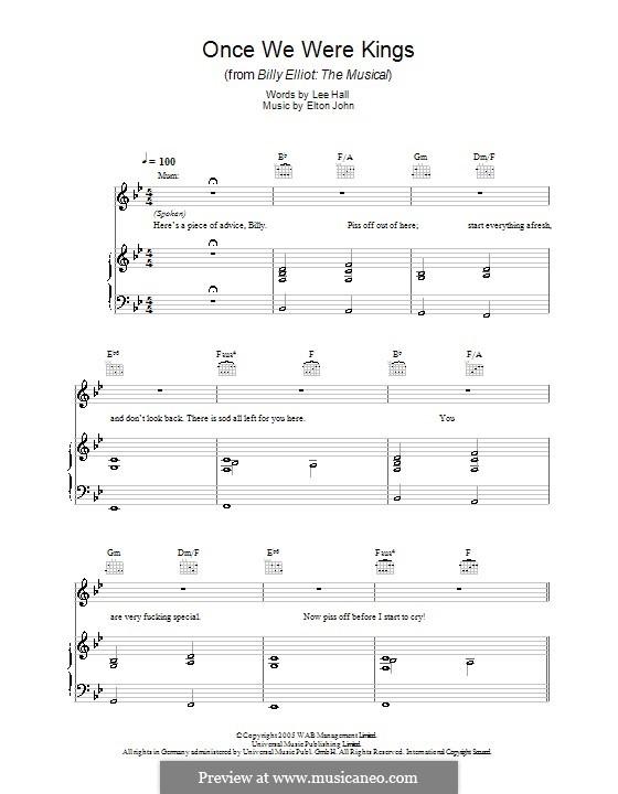 Once We Were Kings: Für Stimme und Klavier (oder Gitarre) by Elton John