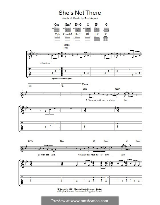 She's Not There (The Zombies): Für Gitarre mit Tab by Rod Argent