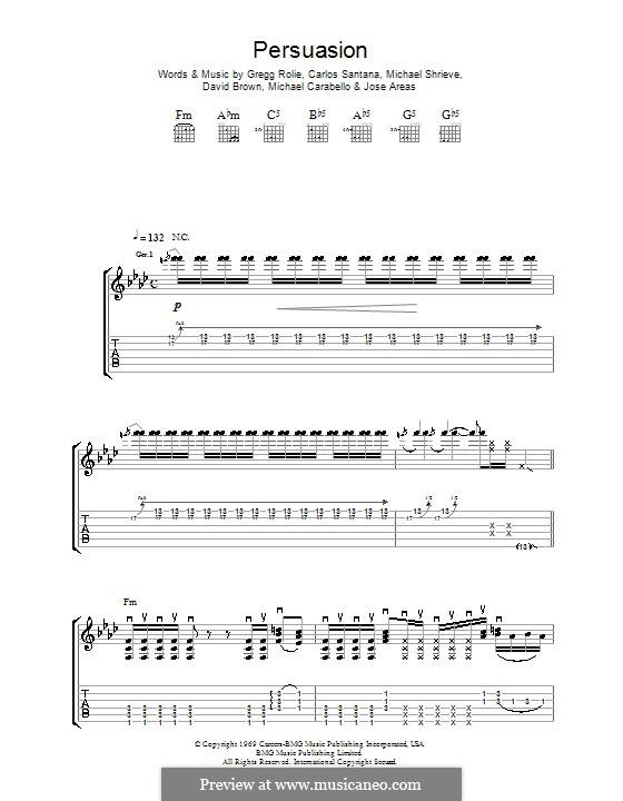 Persuasion (Santana): Für Gitarre mit Tab by David Brown, Gregg Rolie, Jose Areas, Michael Carabello, Michael Shrieve