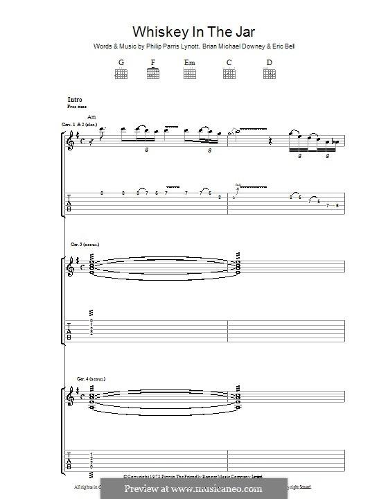 Whiskey in the Jar: Für Gitarre mit Tabulatur by folklore