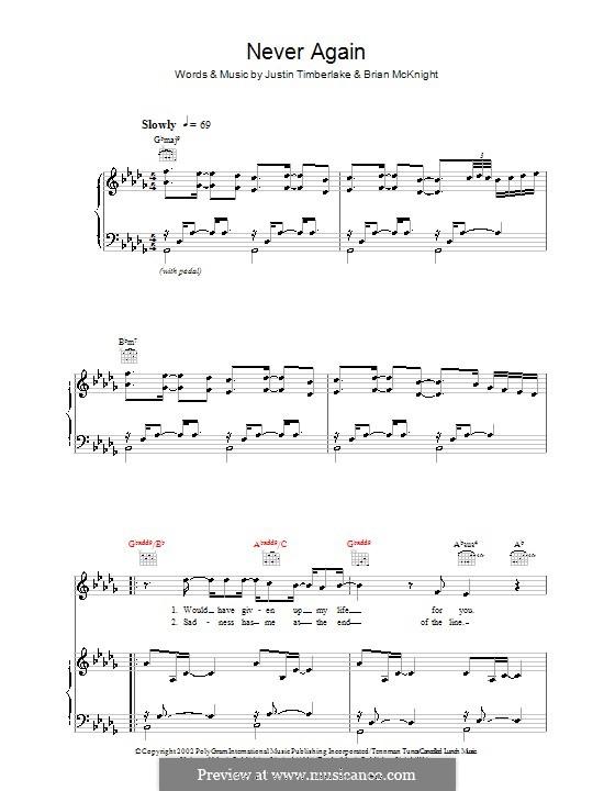 Never Again (Justin Timberlake): Für Stimme und Klavier (oder Gitarre) by Brian McKnight