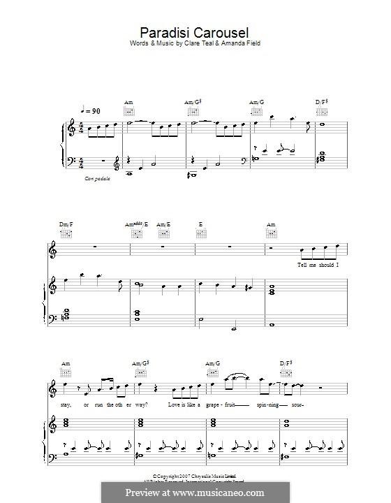 Paradisi Carousel (Clare Teal): Für Stimme und Klavier (oder Gitarre) by Amanda Field