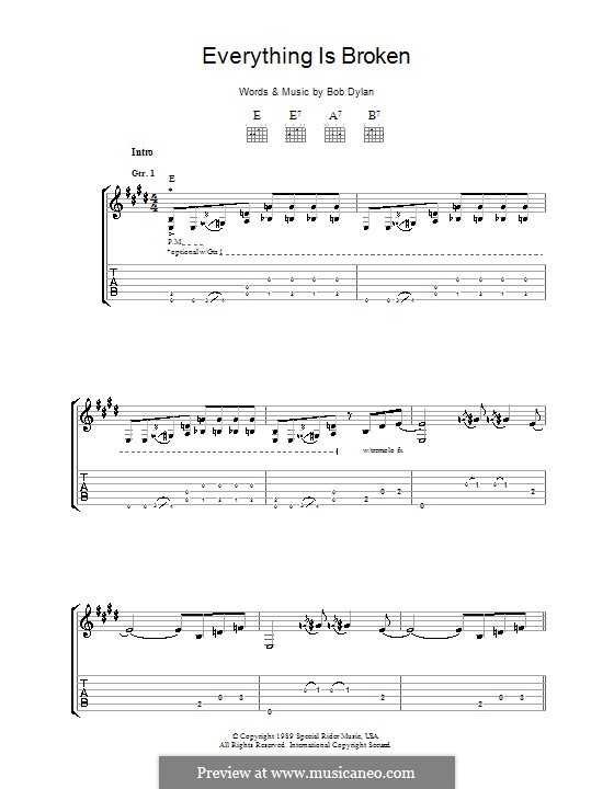 Everything Is Broken: Für Gitarre mit Tabulatur by Bob Dylan