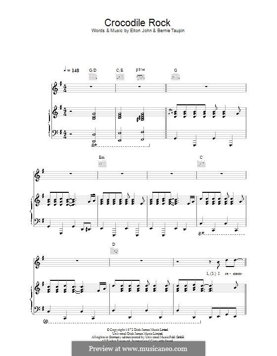 Crocodile Rock: Für Stimme und Klavier (oder Gitarre) by Elton John
