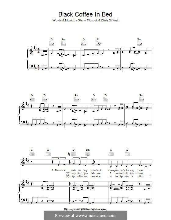 Black Coffee in Bed (Squeeze): Für Stimme und Klavier (oder Gitarre) by Christopher Difford, Glenn Tilbrook