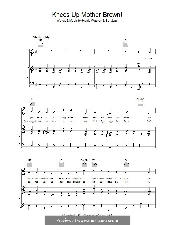 Knees Up Mother Brown: Für Stimme und Klavier (oder Gitarre) by Bert Lee