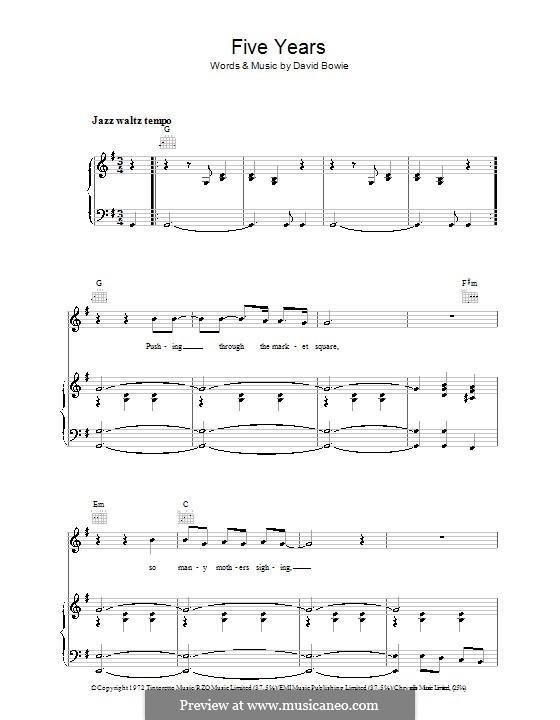 Five Years: Für Stimme und Klavier (oder Gitarre) by David Bowie