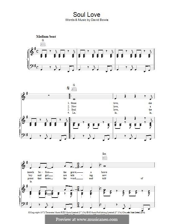Soul Love: Für Stimme und Klavier (oder Gitarre) by David Bowie